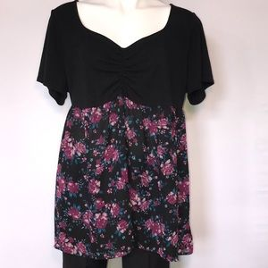 Torrid black with floral print babydoll shirt
